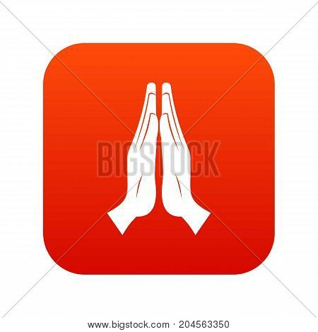 Prayer icon digital red for any design isolated on white vector illustration