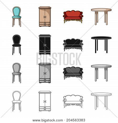 A chair, a wardrobe, a couch, a dining table. Furniture and home interiors set collection icons in cartoon black monochrome outline style vector symbol stock illustration .