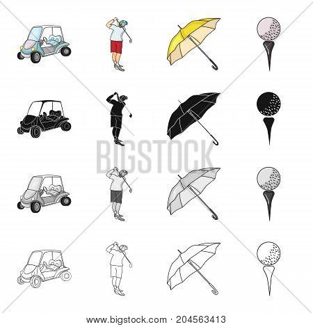 Golf car, golfer, umbrella, ball on the stand. Golf set collection icons in cartoon black monochrome outline style vector symbol stock illustration .
