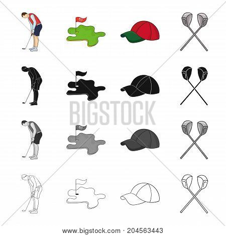 Golfer with stick, golf course, cap, crossed clubs. Golf set collection icons in cartoon black monochrome outline style vector symbol stock illustration .