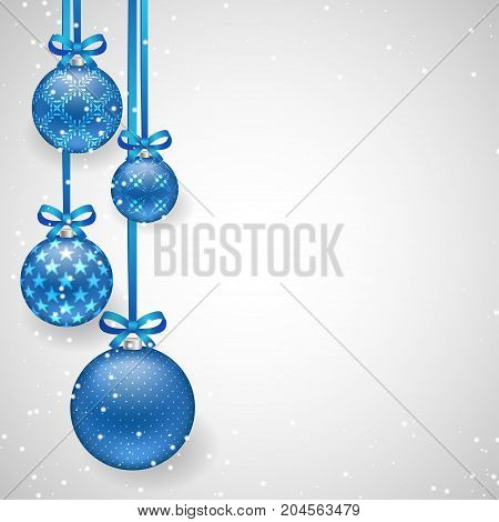Christmas background with blue decorative balls on ribbons with bows and sparkling snowflakes for New Year and Christmas design. Vector illustration template