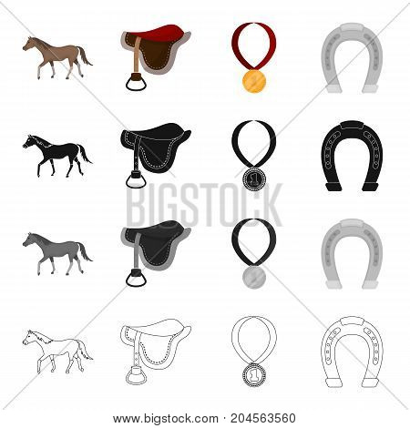 A horse, a saddle for a rider, a reward in races, a horseshoe. Hippodrome and horse racing set collection icons in cartoon black monochrome outline style vector symbol stock illustration .