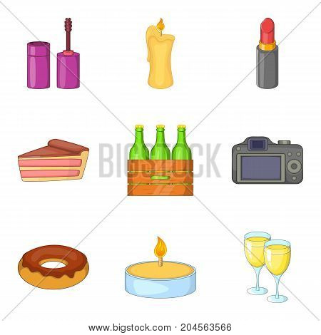 Dinner for two icons set. Cartoon set of 9 dinner for two vector icons for web isolated on white background