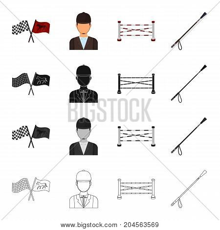 Flags at the races, a jockey in uniform, a barrier on the racetrack, a stack. Hippodrome and horse racing set collection icons in cartoon black monochrome outline style vector symbol stock illustration .