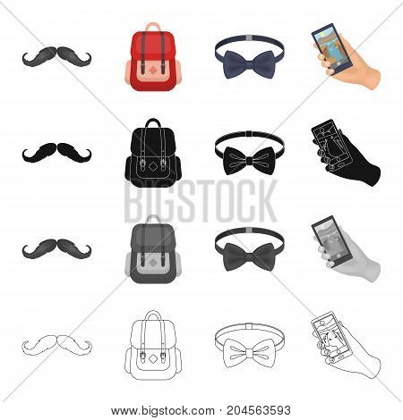 Hipster mustache, stylish backpack, bow tie, mobile phone in hand. Hipster style set collection icons in cartoon black monochrome outline style vector symbol stock illustration .