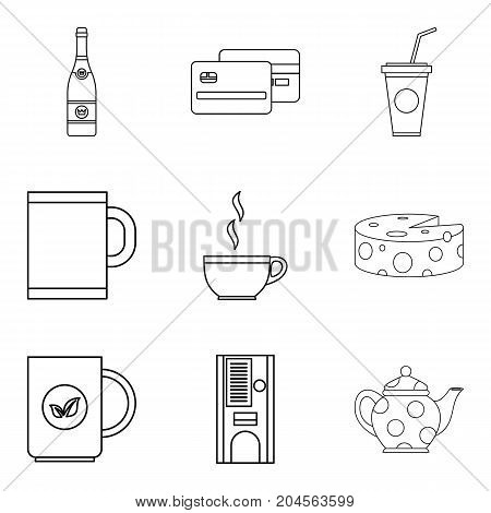 Tea shop icon set. Outline set of 9 tea shop vector icons for web design isolated on white background