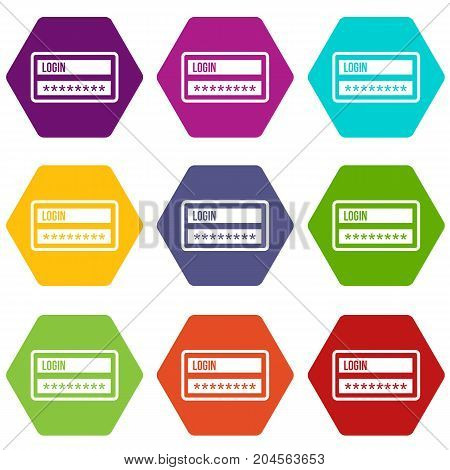 Login and password icon set many color hexahedron isolated on white vector illustration