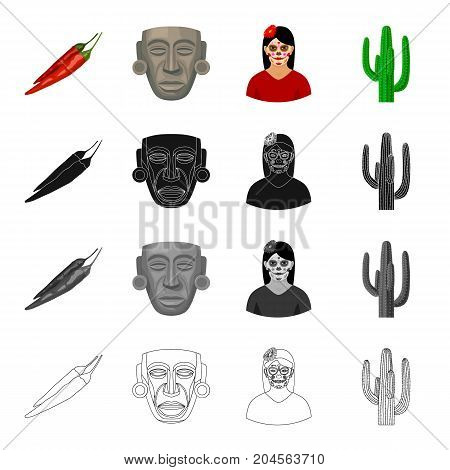 Chili pepper, ancient mask, Mexican girl, cactus. Country Mexico set collection icons in cartoon black monochrome outline style vector symbol stock illustration .