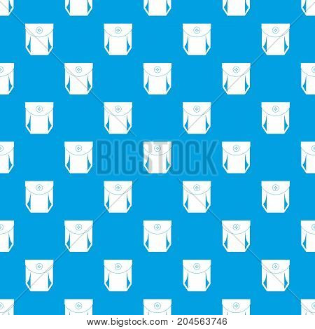 Jeans pocket with button pattern repeat seamless in blue color for any design. Vector geometric illustration