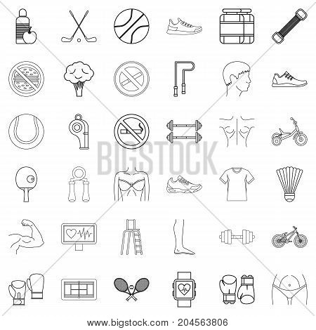 Slim icons set. Outline style of 36 slim vector icons for web isolated on white background
