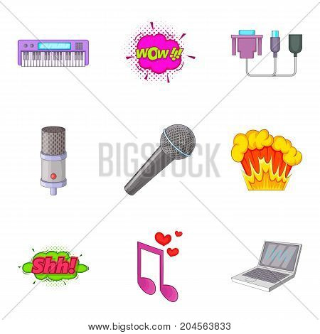 Studio vocal icons set. Cartoon set of 9 studio vocal vector icons for web isolated on white background