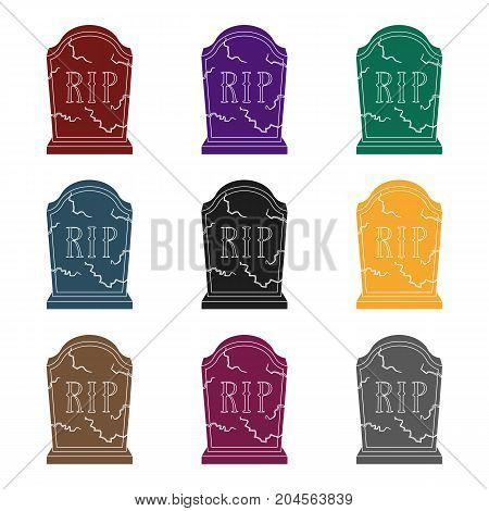 Headstone icon in black design isolated on white background. Funeral ceremony symbol stock vector illustration.