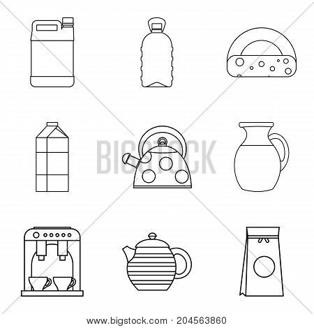 Milk pots icon set. Outline set of 9 milk pots vector icons for web design isolated on white background