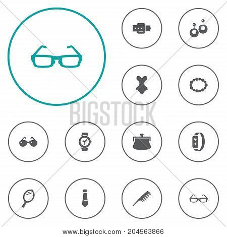 Collection Of Strap, Purse, Sunglasses And Other Elements.  Set Of 12 Accessories Icons Set.