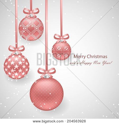Christmas background with pink pearl decorative balls on ribbons with bows and sparkling snowflakes for New Year and Christmas design. Vector illustration template