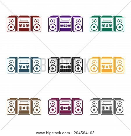 Music center icon in black style isolated on white background. Household appliance symbol vector illustration.