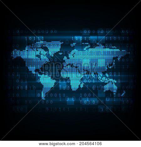 Vector technology digital world map on a dark blue background.