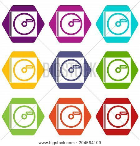 CD with danger lettering icon set many color hexahedron isolated on white vector illustration