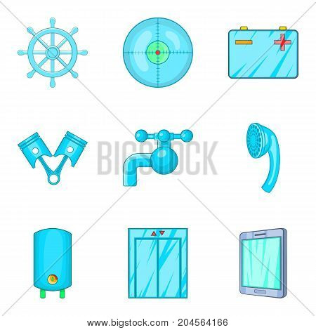 Blue icons set. Cartoon set of 9 blue vector icons for web isolated on white background