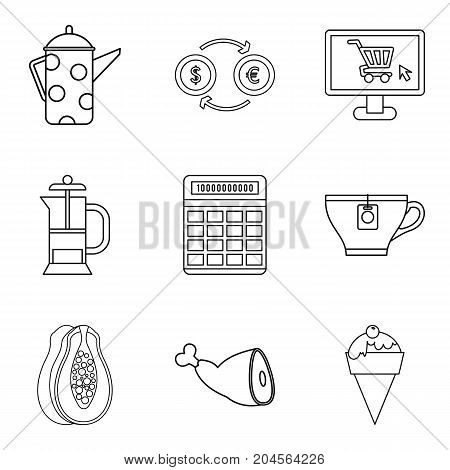 Internet coffee shop icon set. Outline set of 9 internet coffee shop vector icons for web design isolated on white background