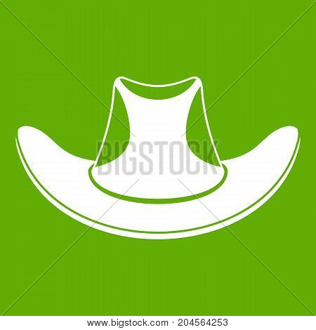 Cowboy hat icon white isolated on green background. Vector illustration