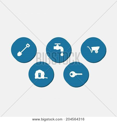 Collection Of Spade, Meter, Protection And Other Elements.  Set Of 5 Work Icons Set.