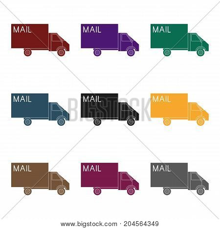 Mail machine.Mail and postman single icon in black style vector symbol stock illustration .