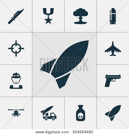 Warfare Icons Set. Collection Of Slug, Aircraft, Target And Other Elements