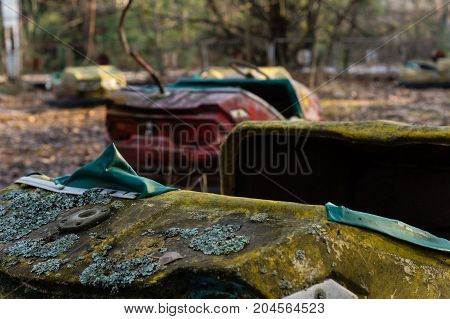 old broken autodrome after catastrophe in the pripyat