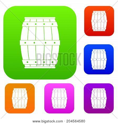 Wooden barrel set icon color in flat style isolated on white. Collection sings vector illustration