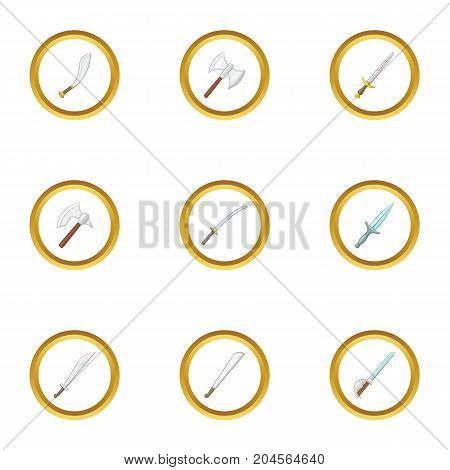 Cold weapon icons set. Cartoon style set of 9 cold weapon vector icons for web design