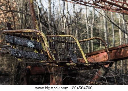 old broken carousel after catastrophe in the pripyat