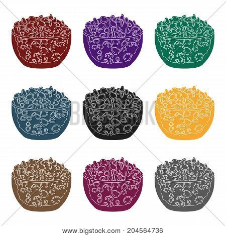 Cottage cheese in the bowl icon in black style isolated on white background. Milk product and sweet symbol vector illustration.
