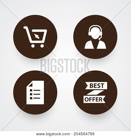 Collection Of Cart, Best Offer, Online Support And Other Elements.  Set Of 4 Magazine Icons Set.