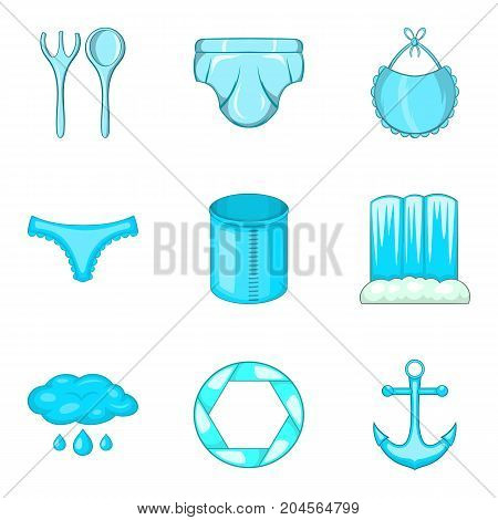 Sea cruise icons set. Cartoon set of 9 sea cruise vector icons for web isolated on white background