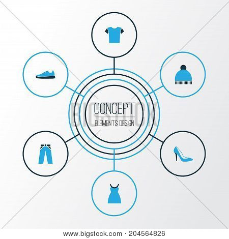 Clothes Colorful Icons Set. Collection Of Trousers, Beanie, Dress And Other Elements
