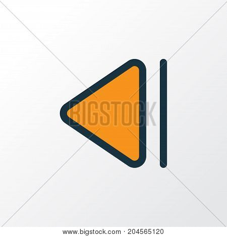 Premium Quality Isolated Previous Element In Trendy Style.  Slow Backward Colorful Outline Symbol.