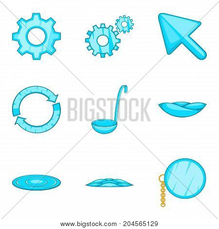 Celestial blue icons set. Cartoon set of 9 celestial blue vector icons for web isolated on white background