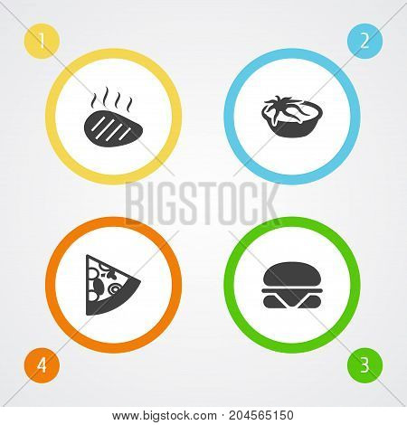 Collection Of Burger, Mutton, Meal And Other Elements.  Set Of 4 Dish Icons Set.