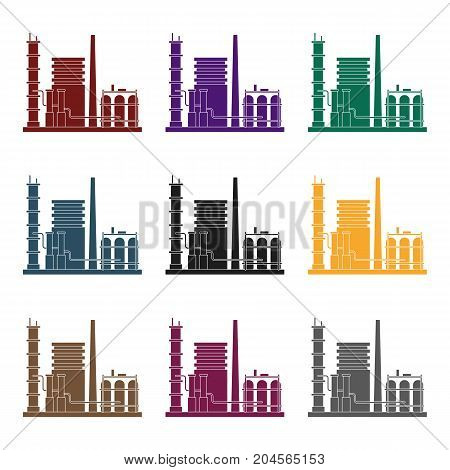 Refinery.Oil single icon in black style vector symbol stock illustration .