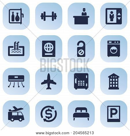 Collection Of Wall Cooler, Barbell, Bedroom And Other Elements.  Set Of 16 Motel Icons Set.