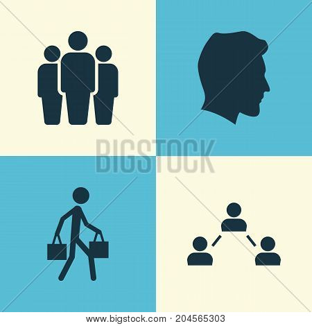 Person Icons Set. Collection Of Network, Male, Group And Other Elements