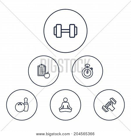 Collection Of Dumbbell, Bowling, Workout And Other Elements.  Set Of 6 Bodybuilding Outline Icons Set.