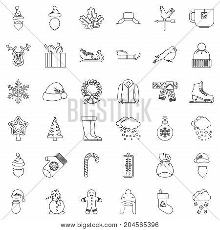 Snowflake icons set. Outline style of 36 snowflake vector icons for web isolated on white background