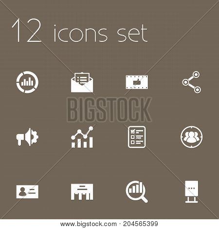 Collection Of Statistics, Customer Summary, Monitoring And Other Elements.  Set Of 12 Trade Icons Set.