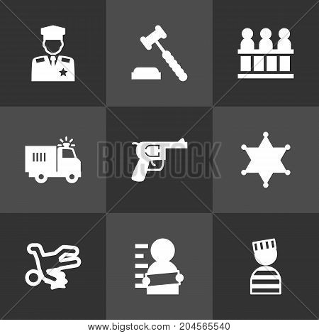 Collection Of Jury, Policeman, Prisoner And Other Elements.  Set Of 9 Criminal Icons Set.