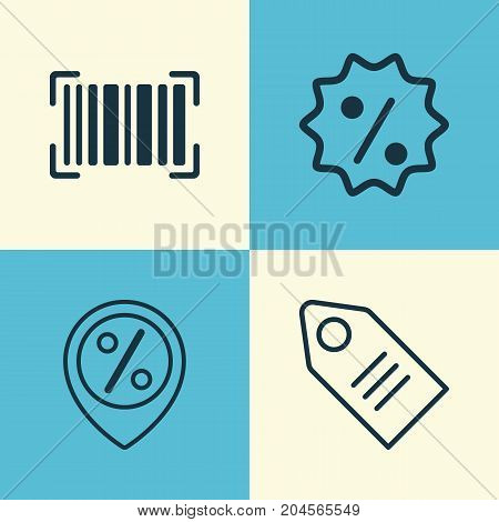 E-Commerce Icons Set. Collection Of Discount Location, Rebate Sign, Ticket And Other Elements