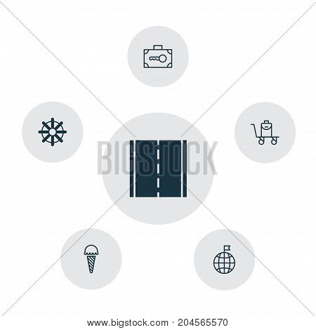 Tourism Icons Set. Collection Of Travel Direction, Photo Camera, Frozen Food And Other Elements