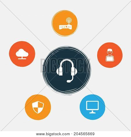Device Icons Set. Collection Of Earphone, Router, Defense And Other Elements