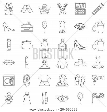Make up icons set. Outline style of 36 make up vector icons for web isolated on white background